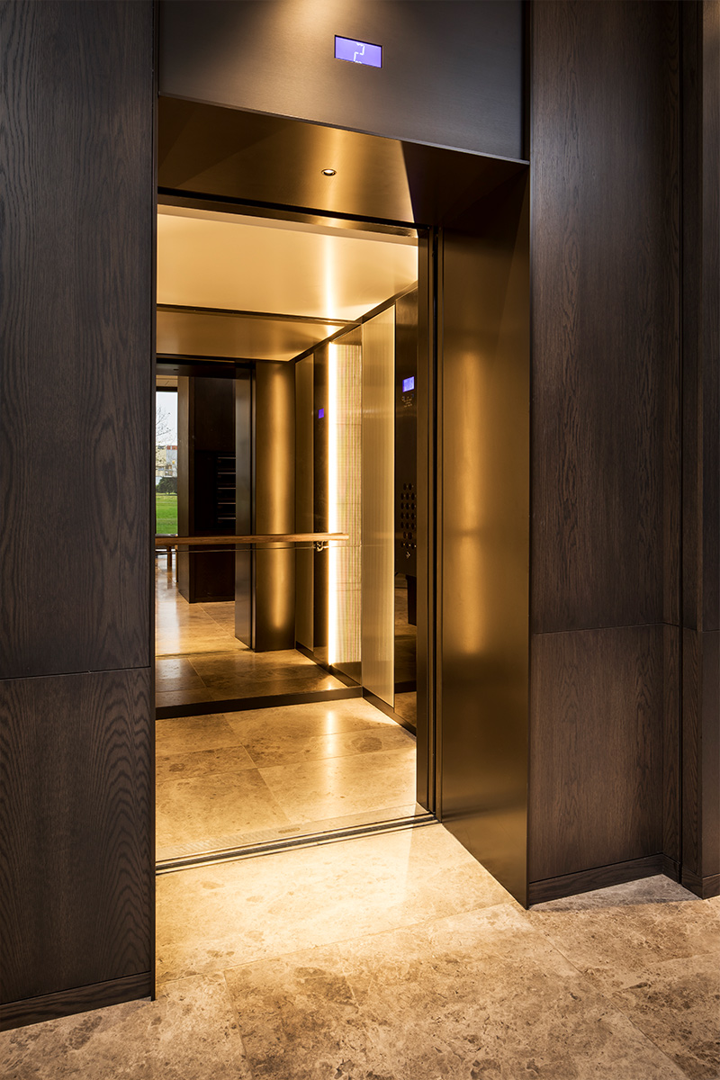 Elevator interior, Fenman House, Kings Cross London by Johnson Naylor Architects.