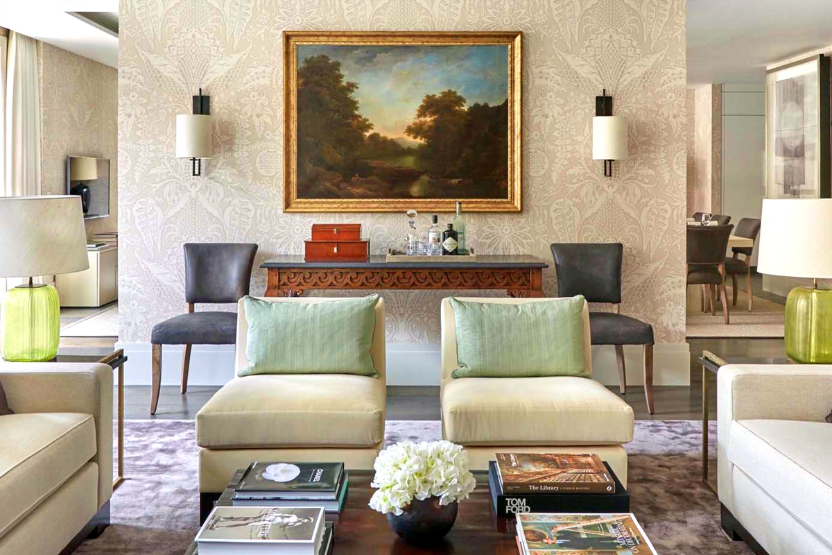 Combination of antiques with contemporary furniture in sitting room of lateral apartment for Lennox Investments, Chelsea, London by Todhunter Earle.