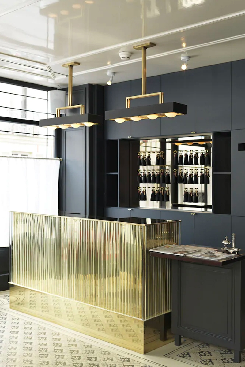 Metallic gold cocktail bar for interior of Grand Pigalle Hôtel, Paris by Dorothée Meilichzon of Chzon.